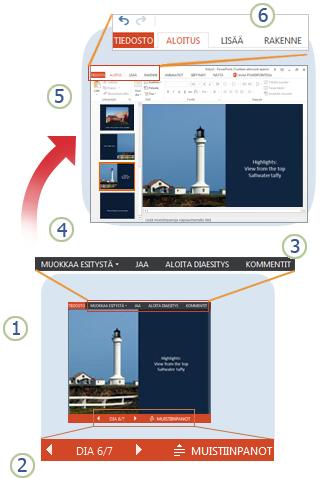 PowerPoint Web App -sovelluksen pikakatsaus