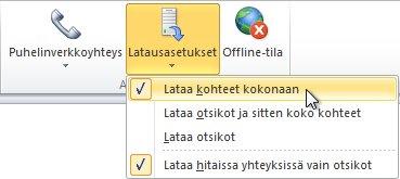 Valintanauhan Lataa asetukset -komento