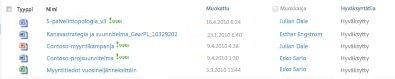 Tiedostokirjasto, joka sisältää hylätyn tiedoston ja muutaman hyväksytyn tiedoston