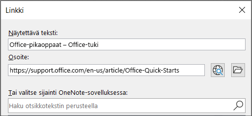 Näyttökuva OneNoten Linkki-valintaikkunasta. Kaksi täytettävää kenttää: Näytettävä teksti ja Osoite.