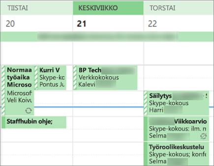 Miltä kalenteri näyttää toiselle käyttäjälle, kun jaat sen rajoitetuilla tiedoilla.