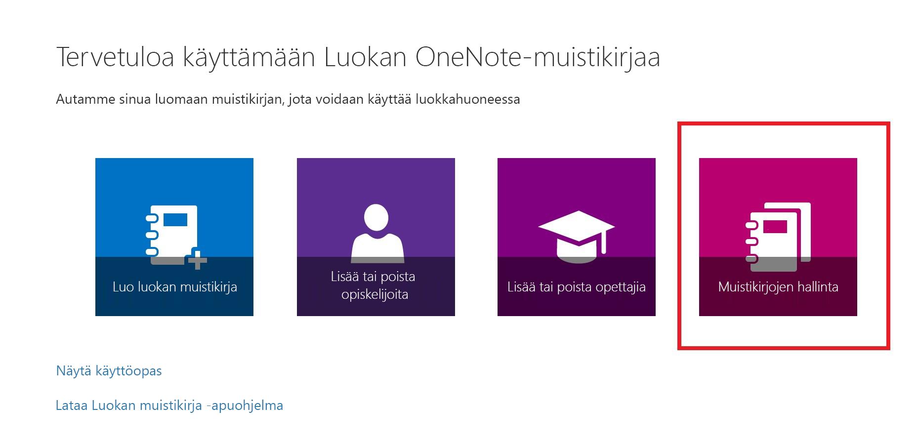 Näyttökuva Muistikirjan luettelot -kuvakkeesta.