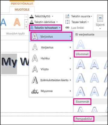 Piirtotyökalut - Muotoile -välilehdessä näkyvät varjostusvaihtoehdot, kun Tekstitehosteet ja Varjostus on valittu