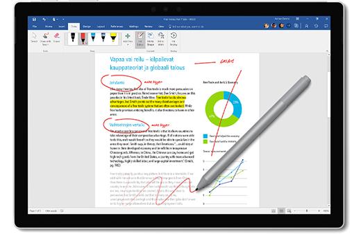 Kuva Surface-kynästä, jolla tehdään merkintöjä asiakirjaan.