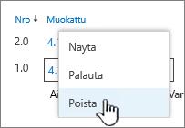 Avattava Versio-valikko, jossa Poista-vaihtoehto näkyy korostettuna