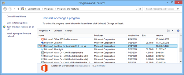 OneDrive for Business -synkronointisovelluksen etsiminen Windowsin ohjauspaneelissa