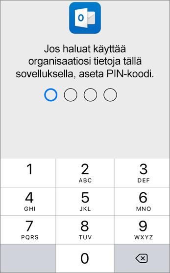 Jos haluat käyttää organisaatiosi tietoja, aseta PIN-koodi.