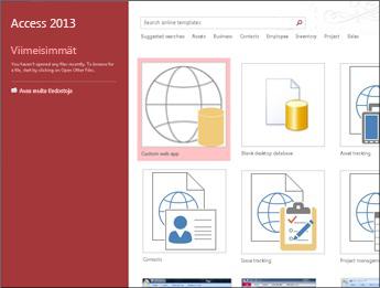 Accessin aloitusnäyttö, jossa näkyy hakuruutu, mukautettu Web App -sovellus ja tyhjiä työpöytätietokannan painikkeita