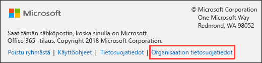 Office 365 Ryhmien vieras tervetuloviestin alatunniste