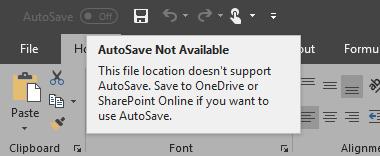 Automaattinen tallennus ei ole käytettävissä -ilmoitus
