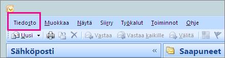 Valitse Outlook 2007:ssä Tiedosto-välilehti.