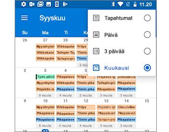 Kalenteri, jossa näkyy kuukausinäkymä