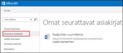 Näyttökuva OneDrive for Business -tiedostoista, joita seuraat Office 365:ssä.