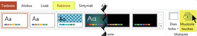 Muotoile tausta -painike on valintanauhan Rakenne-välilehdessä PowerPointissa