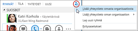 Napsauta Lyncin pääikkunassa Lisää yhteystieto -painiketta.