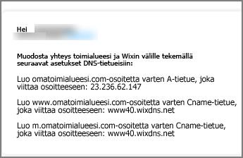 Käytä Wix.com-sivustossa näitä DNS-tietueiden asetuksia