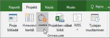 Näyttökuva Joustava-painikkeesta Project-valintanauhassa, Projekti-välilehdessä, Ominaisuudet-osassa