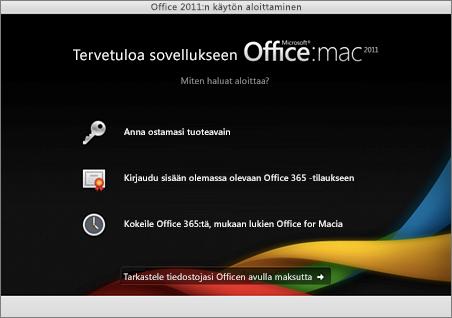Näyttökuva Office for Mac 2011:n aloitussivusta