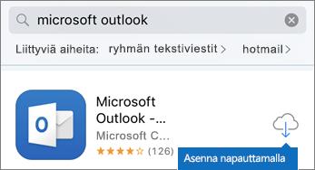 Asenna Outlook napauttamalla pilvikuvaketta.