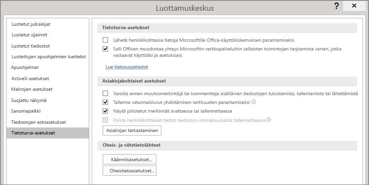 Tietosuoja-asetukset näkyvät Officen Luottamuskeskuksessa.