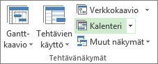 Näytä-välilehti, Tehtävänäkymät-ryhmä, Kalenteri-painike.