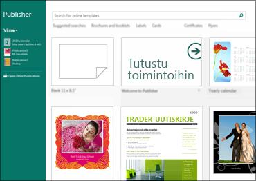 Näyttökuva Publisherin Käytön aloittaminen -malleista.