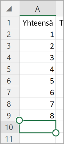 Windows-tabletti Excel AutoSum