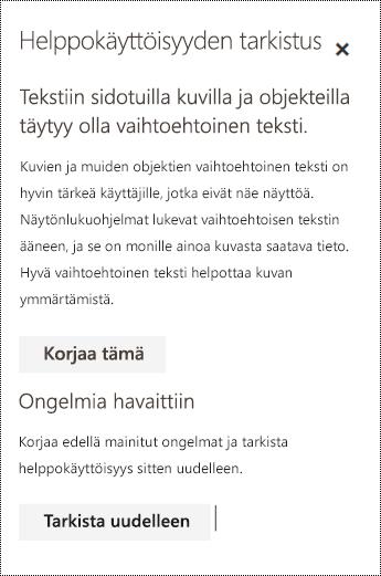 Tarkista sähköpostiviestin helppokäyttöisyysongelmat Outlookin verkkoversiossa.