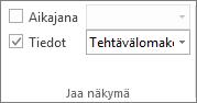 Kuva Tiedot-valintaruudusta Näkymä-välilehdessä.
