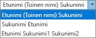"""Outlookin Henkilöt-asetukset, joissa näkyvät """"Koko nimi -järjestys"""" -luettelon vaihtoehdot."""