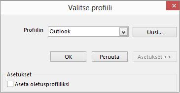 Hyväksy Outlookin oletusasetus Valitse profiili -valintaikkunassa