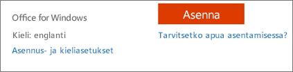 Office 365:n kieli- ja asennusasetukset