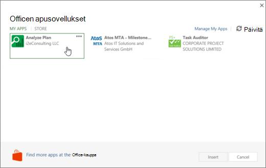 Näyttökuva Omat sovellukset-osassa, joissa voit käyttää ja hallita projektin sovelluksia sovellusten fpr Office-sivulla.