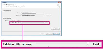 Sähköpostin offline-tallennustilan liukusäädin
