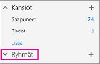 Ryhmät-solmun näkyvät vasemmassa siirtymisruudussa Outlookin verkkoversiossa