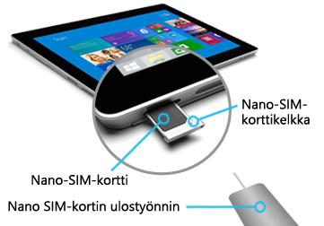 Nano SIM-kortin lisääminen Surface 3 (4G-LTE)-järjestelmään