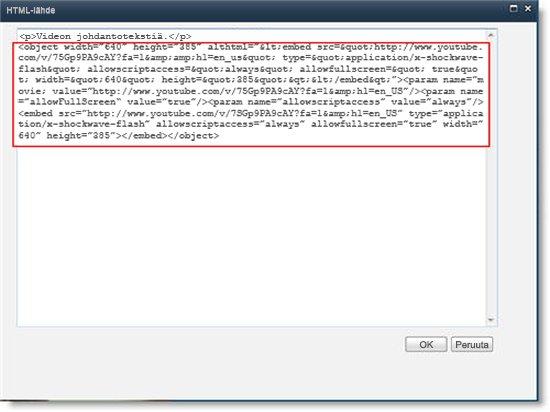 Sisältöeditori-WWW-osan HTML-lähde-editori ja videon upotuskoodi