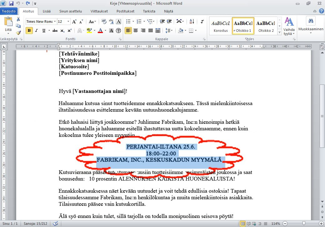 Edellinen toiminto peruutetaan ja poistettu teksti palautetaan.