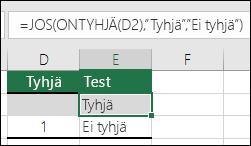 """Kaava solussa E2 on =JOS(D2=1;""""Kyllä"""";JOS(D2=2;""""Ei"""";""""Ehkä""""))"""