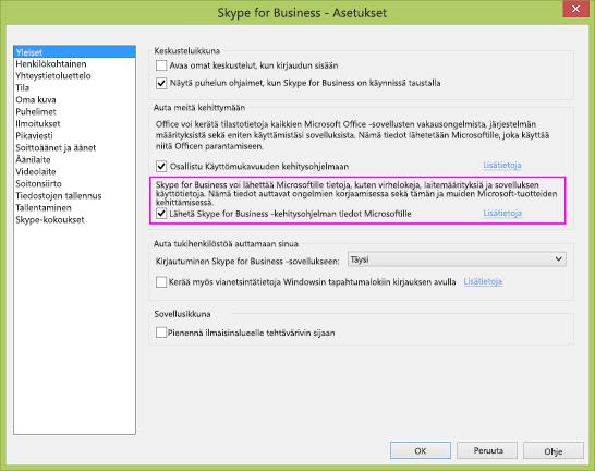 Skype for Businessin tietojen keräämisen valintaruutu Asetukset > Yleiset -valintaikkunassa