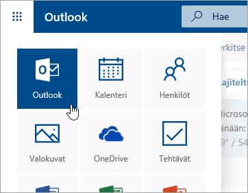 Näyttökuva Outlook-ruudusta sovellusten käynnistyksessä