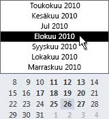 Päiväyskaavio, jossa on kuukausivalitsin