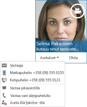 Näyttökuva videopuheluilmoituksesta, jossa yhteyshenkilön kuva yläkulmassa