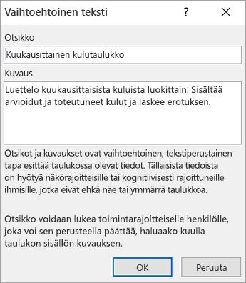 Näyttökuva valintaruudusta Vaihtoehtoinen teksti