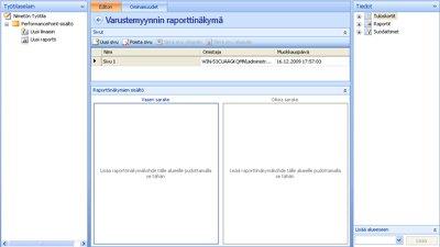 Näyttökuva valmiista raporttinäkymästä Raporttinäkymät-ikkunan suunnittelusovelluksessa