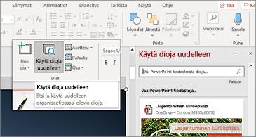 Diat-painikkeen ja-ruudun avaaminen uudelleen PowerPointissa