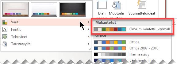 Kun olet määrittänyt mukautetun värimallin, se tulee näkyviin avattavaan Värit-valikkoon