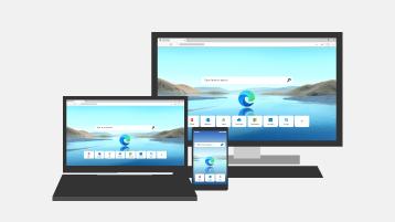Kuva tietokoneen näytöstä, kannettavasta tietokoneesta ja matkapuhelimesta, joissa näkyy Microsoft Edgen aloitusnäyttö