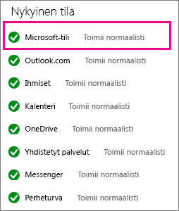 Microsoft-tilipalvelun tila