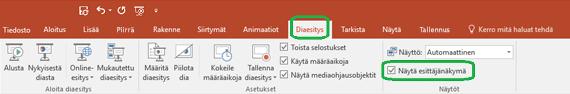 Esittäjänäkymä-vaihtoehtoa hallitaan PowerPointin valintanauhan Diaesitys-välilehden valintaruudun avulla.